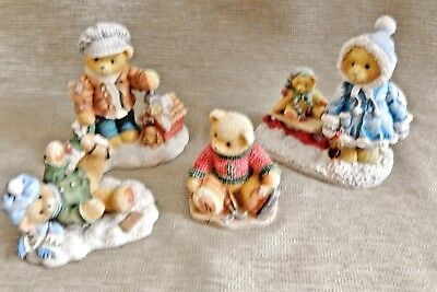 Four Winter Cherished Teddies.  Spencer, Jerome, Rich And Mary. Let It Snow !