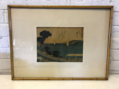 Antique Japanese Signed Hiroshige Woodblock Print w/ Figures by Water & Boats