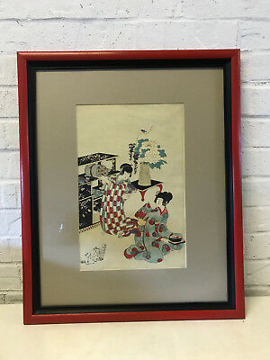 Antique Japanese Signed Woodblock Print w/ 2 Women Moving Scrolls