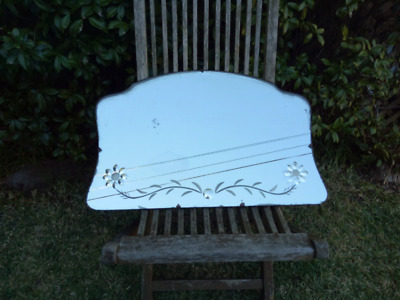Large vintage wall-hung mirror with etched flower design
