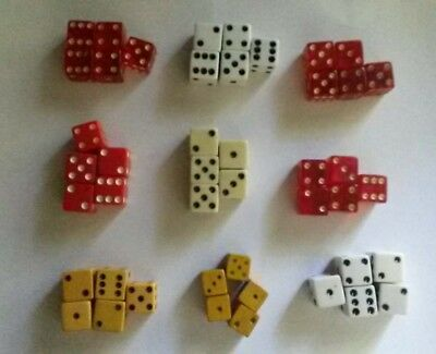 Lot of 45 Vintage Dice Lucite Red White  9 sets of 5