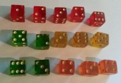 """Lot of 15 Vintage Clear Lucite Dice Green Yellow Orange & Red 5/8"""""""