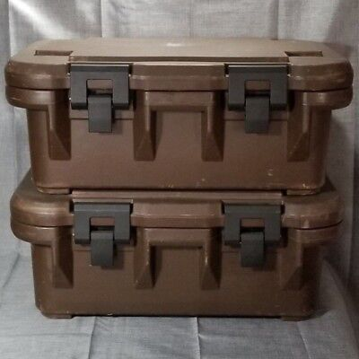 "Lot Of 2 Cambro UPCS160 Insulated Food Carriers Brown 6"" Deep Catering USA"