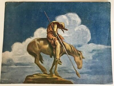 """ORIGINAL 1920's END OF THE TRAIL NATIVE AMERICAN INDIAN ON HORSE  12"""" x 9"""" PRINT"""