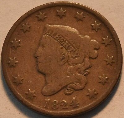 1824 Coronet Head Large Cent, Middle Grade, Original Looking Penny 1C, Nice Type