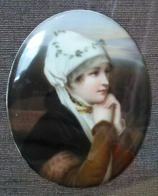 Beautiful Antique Hand Painted Framed Plaque