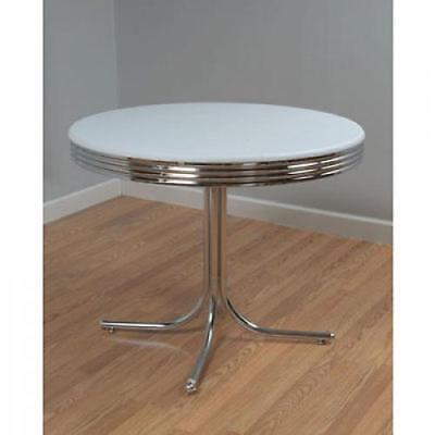 1950s Retro Dining Table Metal Chrome Dinette Round 50s Style Kitchen Furniture