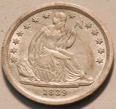 1839 Seated Liberty Dime, High Grade, Nice Luster Silver 10C, Scarce Type Coin