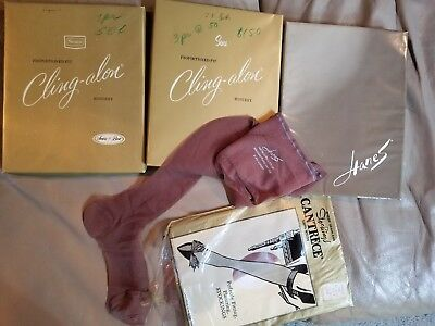 Lot of 8 Nylon Thigh Stockings pkg box Cling-alon Hanes Cantrece hosiery vintage
