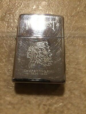 Vintage Zippo lighter Wild West Rare Chief Sitting Bull 1834-1890 Headdress 1995