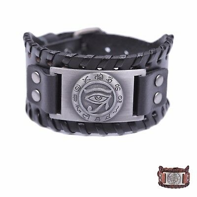 Ancient Egyptian Alphabet Eye of Horus Leather Bracelet for Men Vintage Jewelry