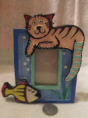 Adorable Colorful Kitty With Fish Picture Frame