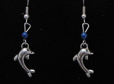 Dolphin Dangling Earrings (D3) - You pick the Bead Color..