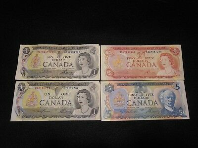 Lot of (4)1970s Canada $1,2 & $5 Dollar Bills