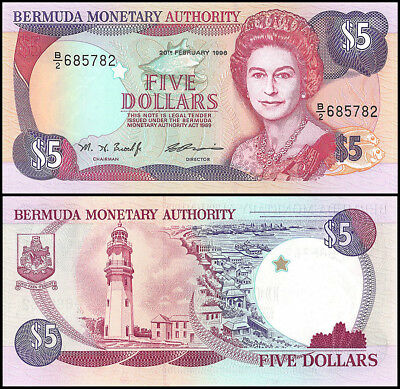 Bermuda 5 Dollars Banknote, 1996, P-41c, UNC, Queen Elizabeth II, Lighthouse