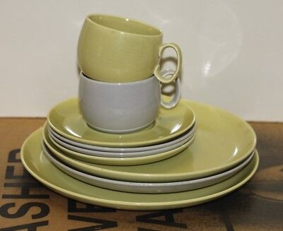 Lot of 9 W S George solid dinnerware gray & chartruese plates cups saucers