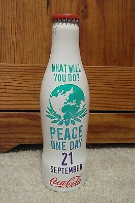 Coca Cola Bottle Peace One Day - Aluminum  RARE!!!  Full bottle
