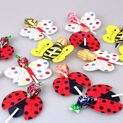 50pcs Cute Insect Paper Candy Chocolate Lollipop Sticks Cake Xmas Paper Decor