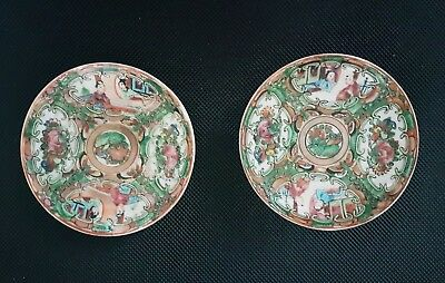 ANTIQUE CHINESE CANTON PORCELAIN~ FAMILLE ROSE MEDALLION PLATES~19th c.