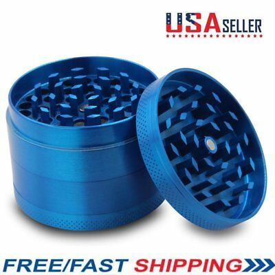Herbal Tobacco Grinder 4-Piece Smoke Herb/Spice Alloy Crusher 40mm Blue Hot