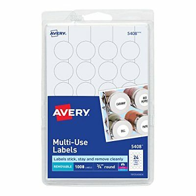 1008-Pack 3/4-Inch Avery Round Multi-Purpose Printable Removable Labels White