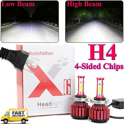 480W 48000LM H4/9003/HB2 High/Low Beam LED Headlight Car Conversion 4-Side White