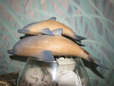 July Blowout! 3 Hand Carved Wooden Dolphins- Mother Daughter 2 -Sprayed Blue