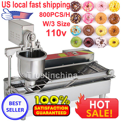 110V Commercial Electric Automatic Doughnut Donut Machine Donut Maker W/3 Size