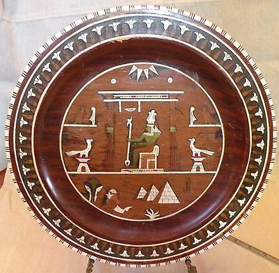 x117 ANCIENT EGYPT EGYPTIAN REPRODUCTION WOOD WALL PLATE, inlaid marquetry