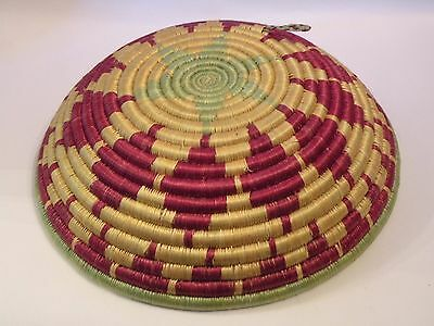 shlf AFRICAN COIL BASKET, fine design, 11 3/4 BY 3 INCHES modern