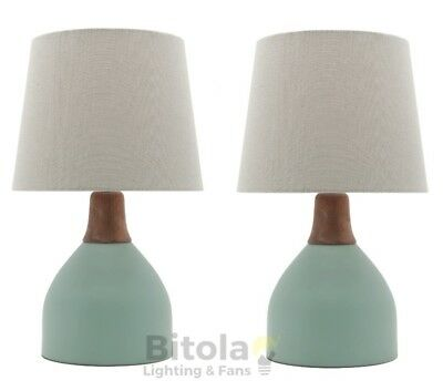 New Pair Of Mercator Madeline Bedside Table Lamps Duck Egg Green With Oak Timber