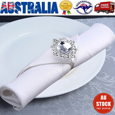 12PCS Acrylic Silver Napkin Rings Napkin Holders Wedding Banquet Dinner Decor AU