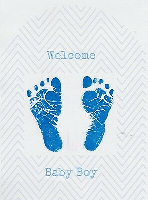 SET OF 6 X PERSONALISED 89 x120.7MM WELCOME BABY BOY WINE BOTTLE LABEL