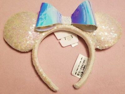 Disney Parks Minnie Mouse Ears Iridescent Sequin Headband with Bow NEW