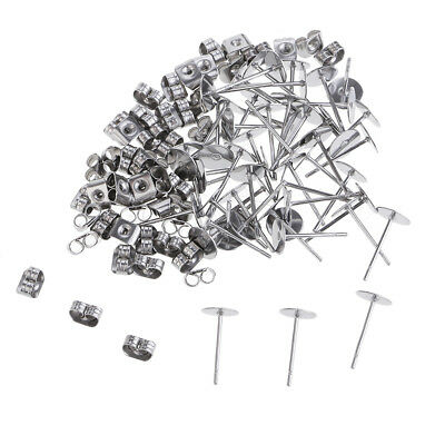 25 Pairs Stainless Steel Flat Earrings Pin Post Ear Stud Back DIY Crafts