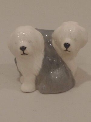 Small Pair of Beswick Old English Sheepdogs Seated