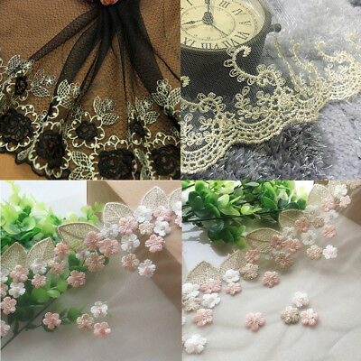 1yard Transparent Gauze Mesh Lace Trim Embroidered Wedding Fabric Sewing Craft