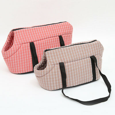 Portable Pet Dog Cat Carrier Bag Plaid Sling Shoulder Bags Kitten Travel Handbag