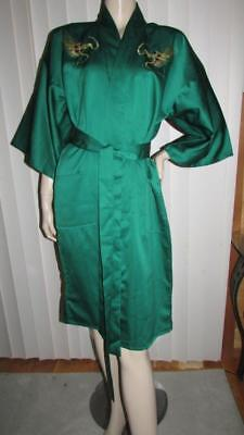 Vintage JAPAN Embroidered Dragon Kimono Style Green Poly Satin Robe M