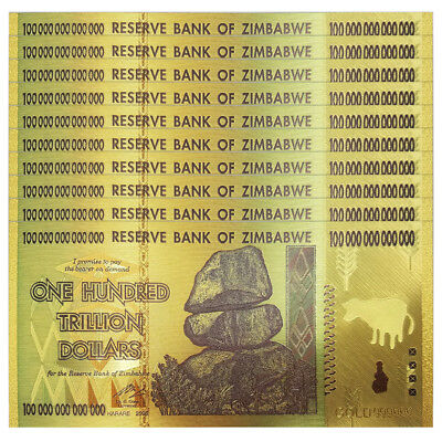 Lot 10 PCS, Zimbabwe 100 Trillion Dollars, Color 24K Gold, FANCY note, P-91