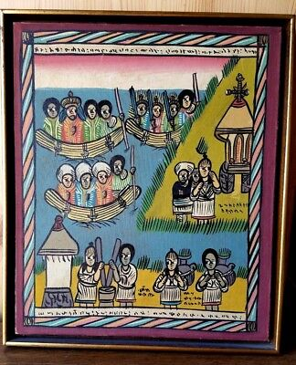 Ethiopian Framed Painting. Historical Scene Of Coast, People, And Boats.  Signed