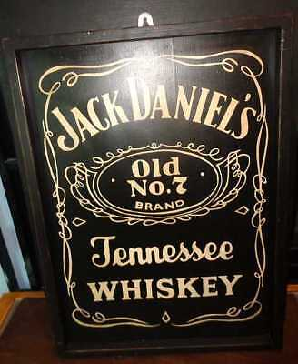 Hand Painted Wooden Sign & Frame Jack Daniels Old No7 Whiskey Add