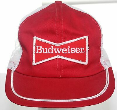 a5cf3e847e652 Vintage Budweiser Beer Patch Trucker Hat - Red   White Snapback Cap Made in  USA