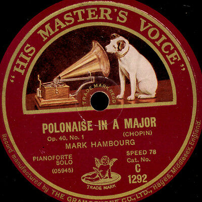 MARK HAMBOURG -PIANO- Polonaise in A Major Op. 40, No. 1 (Chopin)  78rpm  G720