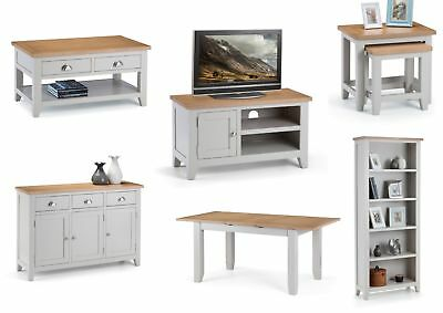 Julian Bowen Richmond Grey Painted Living & Dining Room Furniture with Oak Tops