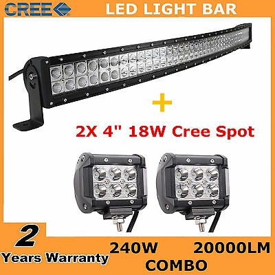 "Curved 42"" 240W LED Light Bar Offroad SUV 4WD Driving ATV+4inch 18W Spot Pods"