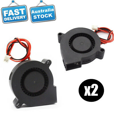 2 X Blower Cooling Fan DC 12V 5015 50mmx15mm Exhaust For RepRap 3D Printer
