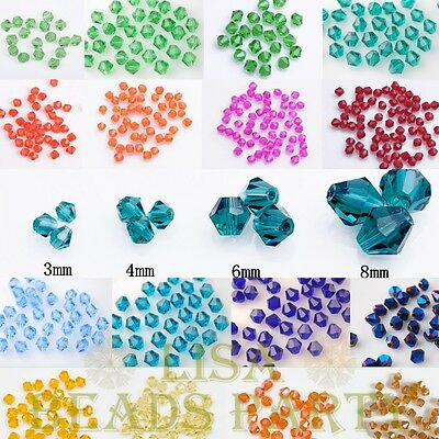 Wholesale Bicone Faceted Crystal Glass Loose Spacer Beads 3mm 4mm 6mm 8mm Bulk
