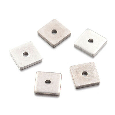 100pcs 304 Stainless Steel Metal Beads Flat Square Smooth Loose Spacers Tiny 6mm