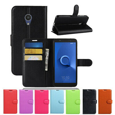 Wallet Leather Flip Case Cover For Telstra Alcatel 1C 1X + FREE TEMPERED GLASS